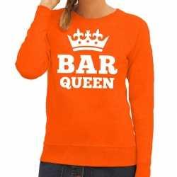 Oranje bar queen sweater dames