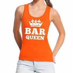 Oranje bar queen tanktop / mouwloos shirt dames