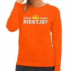 Oranje biertje kroontje sweater dames