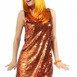 Oranje dames jurkje pailletten