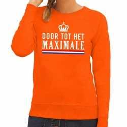 Oranje door tot het maximale sweater dames