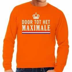 Oranje door tot het maximale sweater heren