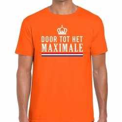 Oranje door tot het maximale t shirt heren