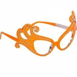 Oranje feestbril luxe montuur
