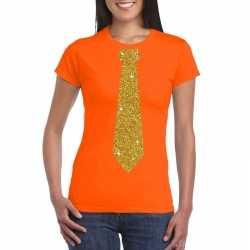 Oranje fun t shirt stropdas in glitter goud dames
