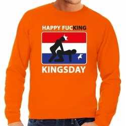 Oranje happy fucking kingsday sweater heren