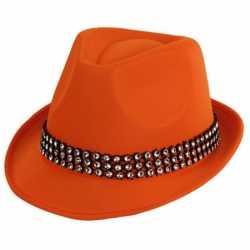 Oranje hoed zilveren steentjes