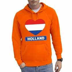 Oranje holland hart vlag hoodie heren