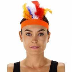Oranje indianentooi verkleed hoofdband dames