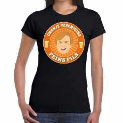 Oranje vereniging prins pils t shirt zwart dames