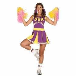 Paars/geel cheerleader jurkje dames