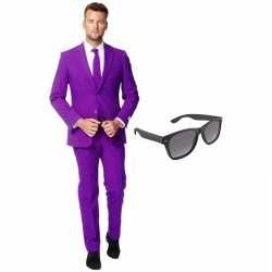 Paars heren kostuum maat 56 (xxxl) gratis zonnebril