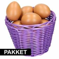 Paars paasmandje eieren naturel 14