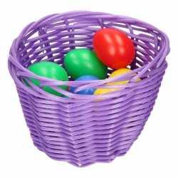 Paars paasmandje gekleurde eieren 14