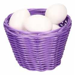 Paars paasmandje plastic eieren 14cm