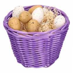 Paars paasmandje plastic kwartel eieren 14cm