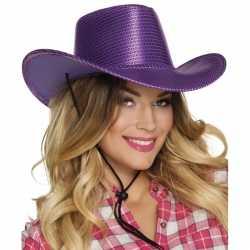Paarse cowboyhoed howdy pailletten volwassenen