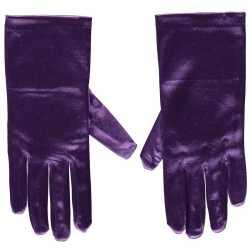 Paarse gala handschoenen kort van satijn 20