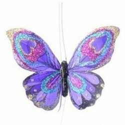 Paarse vlinder kerstversiering hangdecoratie 9