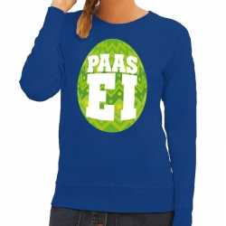 Paas sweater blauw groen ei dames