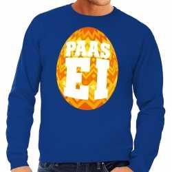 Paas sweater blauw oranje ei heren