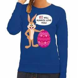 Paas sweater ei will always love you blauw dames