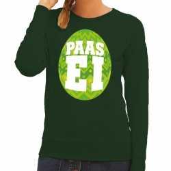 Paas sweater groen fel groen ei dames