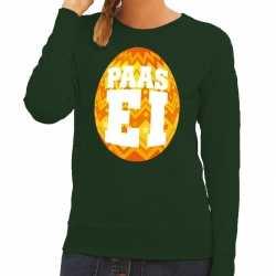 Paas sweater groen oranje ei dames
