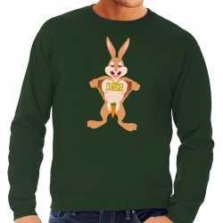 Paas sweater verliefde paashaas groen heren