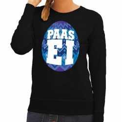 Paas sweater zwart blauw ei dames