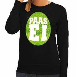 Paas sweater zwart groen ei dames