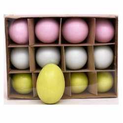 Paasdecoratie ganzen eieren gekleurd 12 stuks