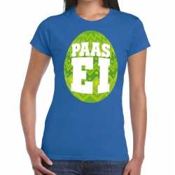 Paasei t shirt blauw groen ei dames