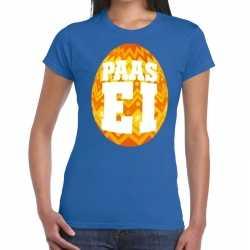 Paasei t shirt blauw oranje ei dames