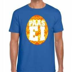 Paasei t shirt blauw oranje ei heren