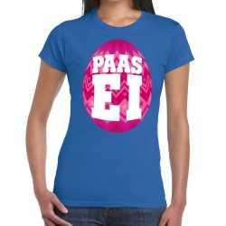 Paasei t shirt blauw roze ei dames