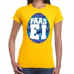 Paasei t shirt geel blauw ei dames