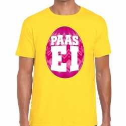 Paasei t shirt geel roze ei heren