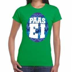 Paasei t shirt groen blauw ei dames