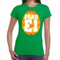 Paasei t shirt groen oranje ei dames