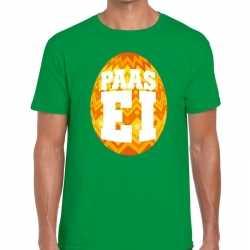 Paasei t shirt groen oranje ei heren