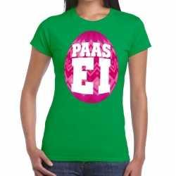 Paasei t shirt groen roze ei dames