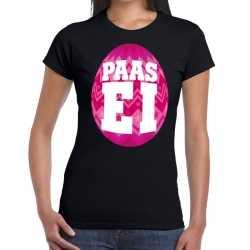 Paasei t shirt zwart roze ei dames