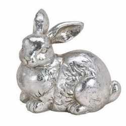 Paashaas decoratie beeldje liggend zilver 12