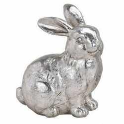 Paashaas decoratie beeldje zittend zilver 12