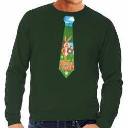 Paashaas stropdas vrolijk pasen sweater groen heren