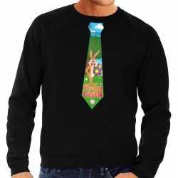 Paashaas stropdas vrolijk pasen sweater zwart heren