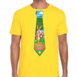 Paashaas stropdas vrolijk pasen t shirt geel heren