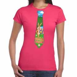 Paashaas stropdas vrolijk pasen t shirt roze dames