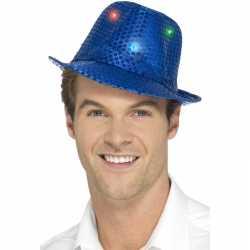 Pailletten hoedje blauw led lichtjes
